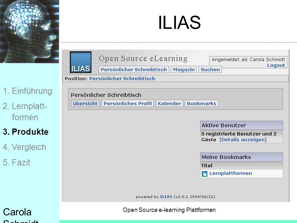 Open Source e-learning Plattformen Carola Schmidt ILIAS 1. Einführung 2. Lernplatt- formen 3. Produkte 4. Vergleich 5. Fazit