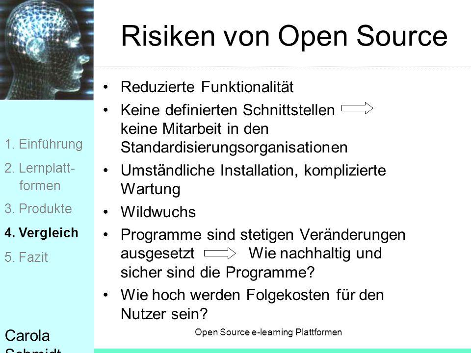 Open Source e-learning Plattformen Carola Schmidt Risiken von Open Source Reduzierte Funktionalität Keine definierten Schnittstellen keine Mitarbeit i