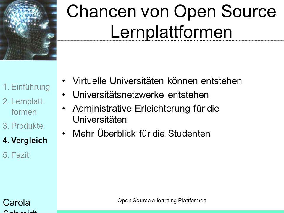 Open Source e-learning Plattformen Carola Schmidt Chancen von Open Source Lernplattformen Virtuelle Universitäten können entstehen Universitätsnetzwer