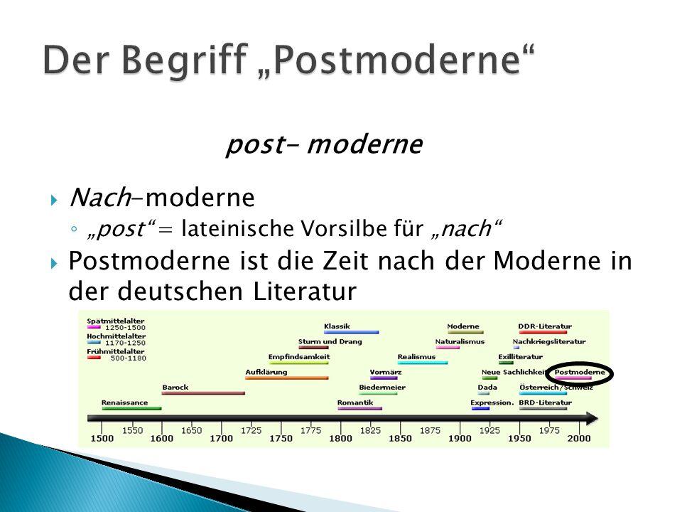 """ Ausdruck """"Postmoderne schon seit Anfang des 20 Jahrhunderts bekannt  In der deutschen Literatur redet man aber von der Literatur der 80/90er Jahre ???"""