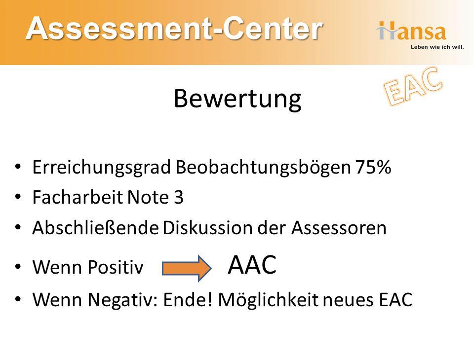 Assessment-Center Bewertung Erreichungsgrad Beobachtungsbögen 75% Facharbeit Note 3 Abschließende Diskussion der Assessoren Wenn Positiv AAC Wenn Nega
