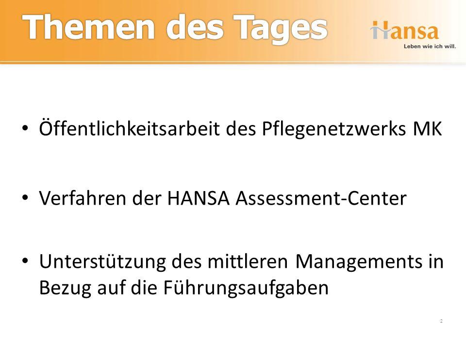 Assessment-Center 2 Öffentlichkeitsarbeit des Pflegenetzwerks MK Verfahren der HANSA Assessment-Center Unterstützung des mittleren Managements in Bezu