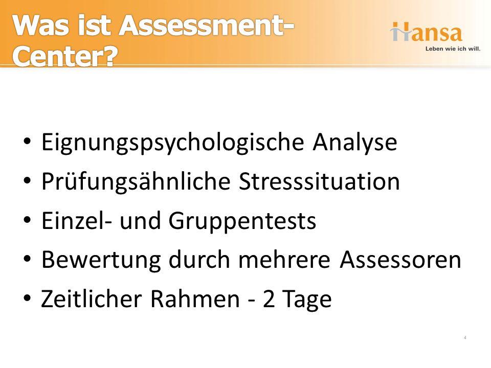 Assessment-Center 4 Eignungspsychologische Analyse Prüfungsähnliche Stresssituation Einzel- und Gruppentests Bewertung durch mehrere Assessoren Zeitli