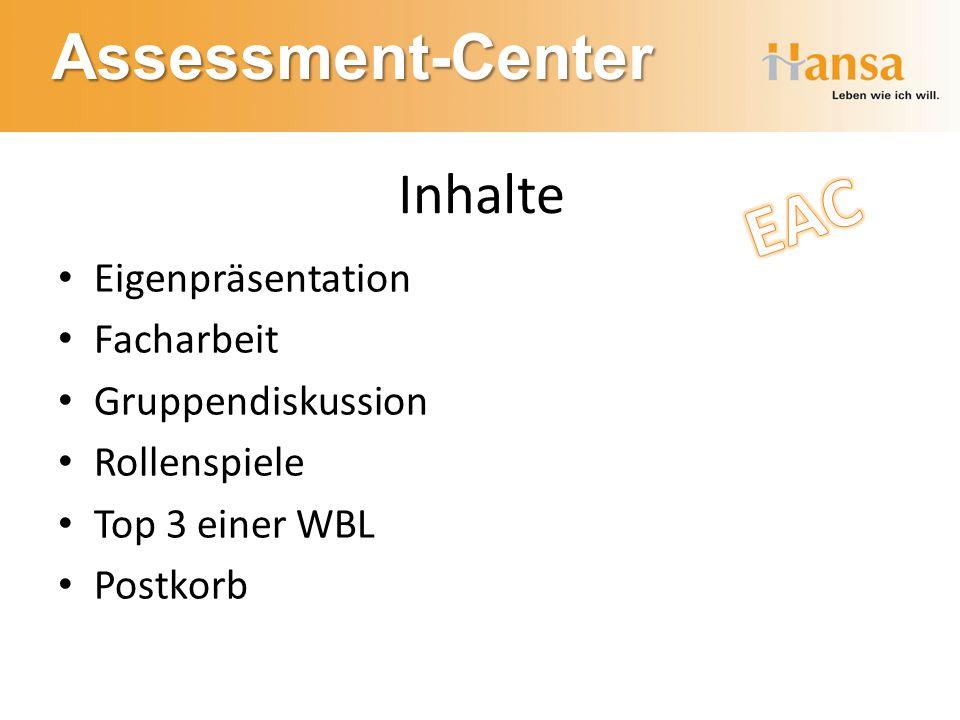 Assessment-Center Inhalte Eigenpräsentation Facharbeit Gruppendiskussion Rollenspiele Top 3 einer WBL Postkorb