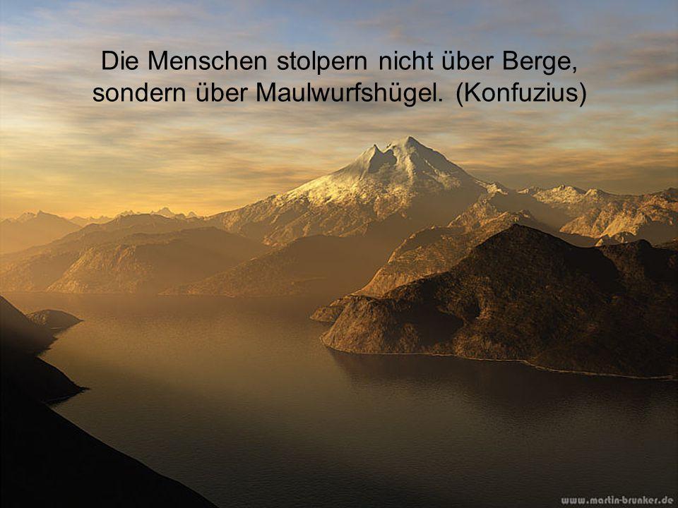 Die Menschen stolpern nicht über Berge, sondern über Maulwurfshügel. (Konfuzius)
