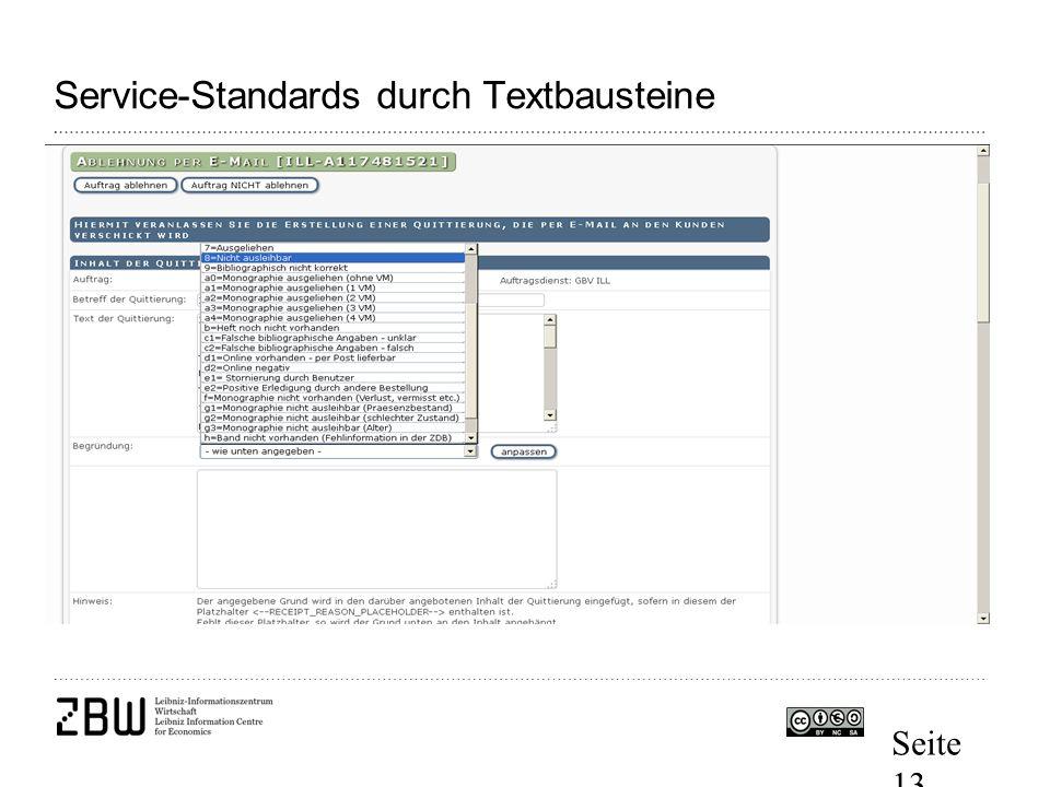 Seite 13 Service-Standards durch Textbausteine