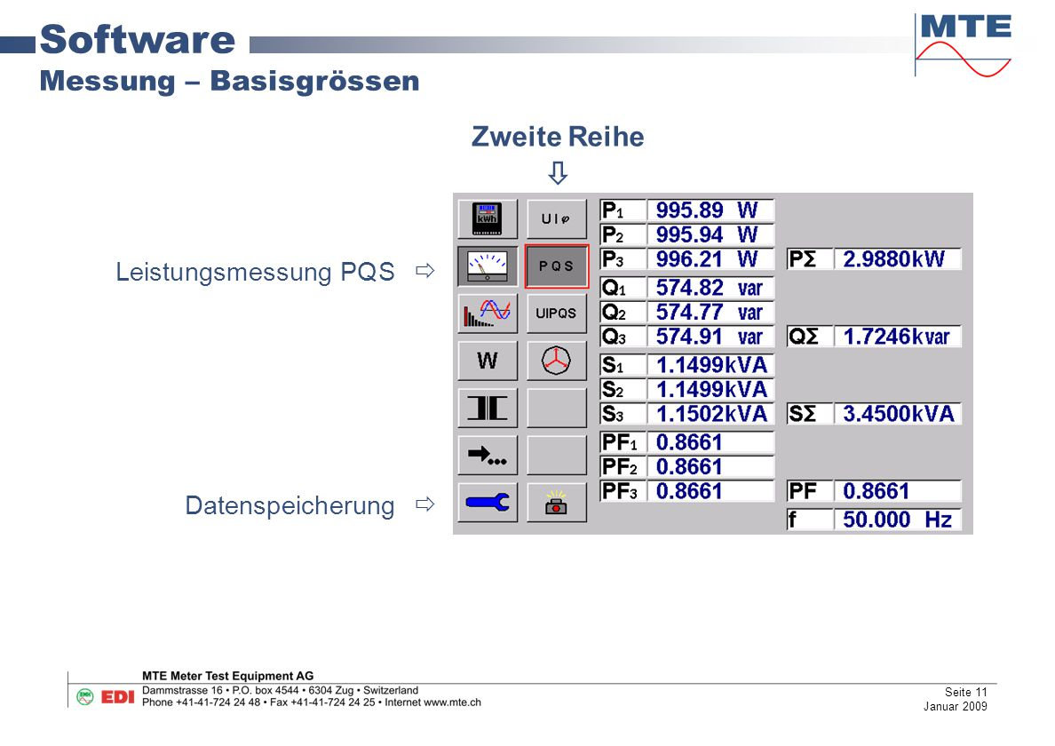 Software Messung – Basisgrössen Leistungsmessung PQS  Datenspeicherung  Zweite Reihe  Seite 11 Januar 2009