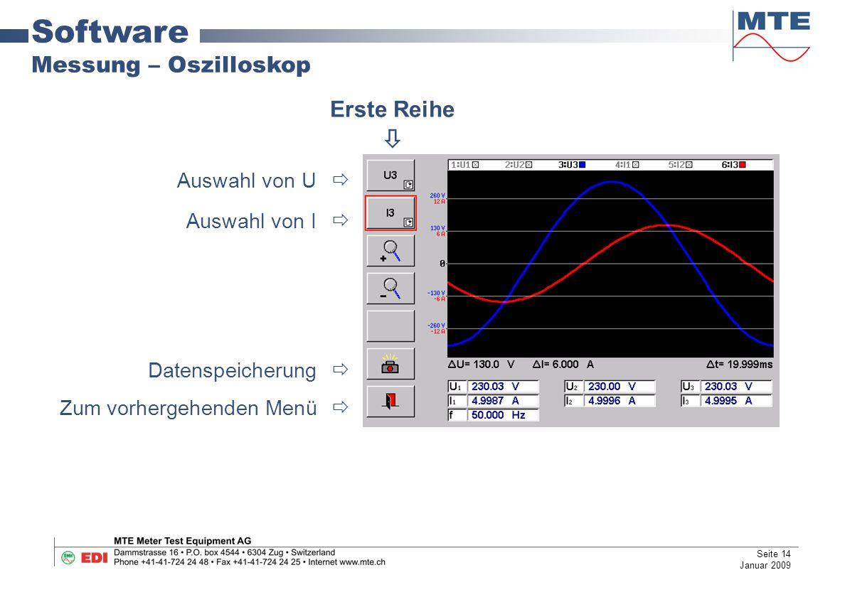 Software Messung – Oszilloskop Auswahl von U  Auswahl von I  Datenspeicherung  Zum vorhergehenden Menü  Erste Reihe  Seite 14 Januar 2009
