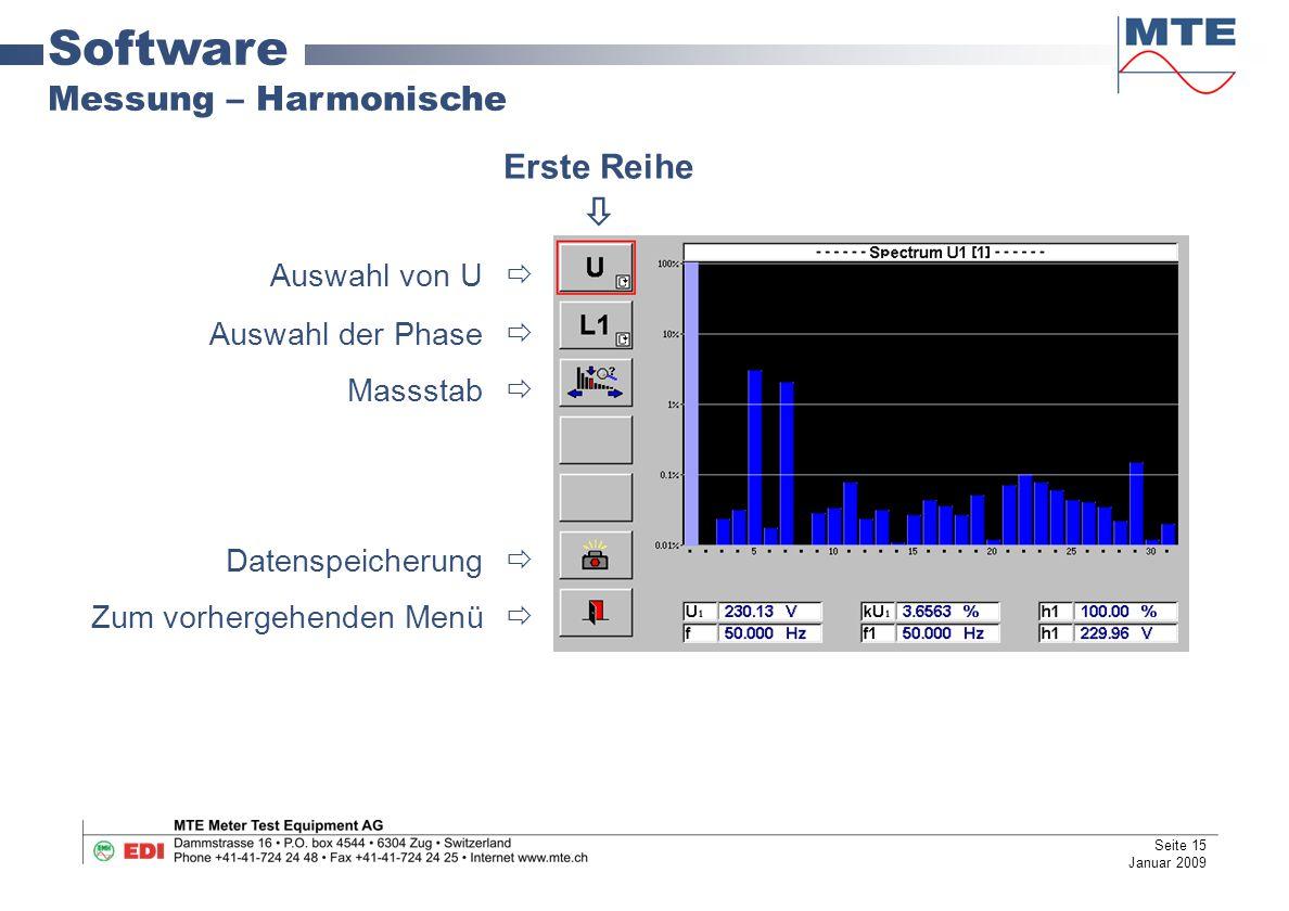 Software Messung – Harmonische Auswahl von U  Auswahl der Phase  Massstab  Datenspeicherung  Zum vorhergehenden Menü  Erste Reihe  Seite 15 Januar 2009