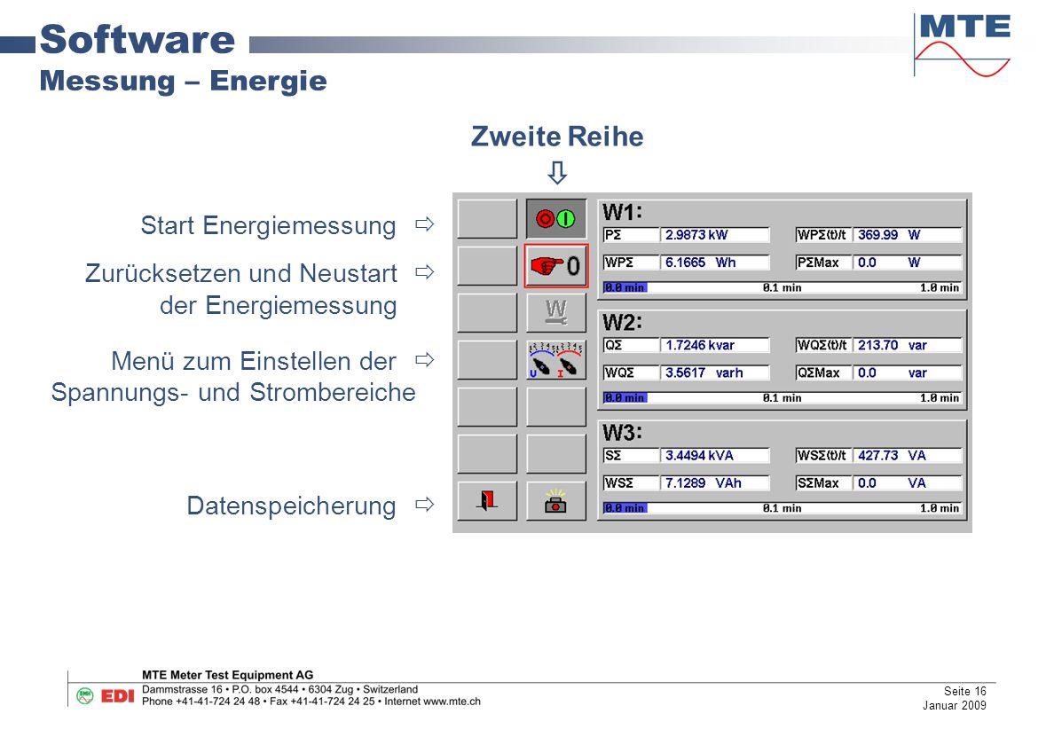 Software Messung – Energie Start Energiemessung  Zurücksetzen und Neustart  der Energiemessung Menü zum Einstellen der  Spannungs- und Strombereiche Datenspeicherung  Zweite Reihe  Seite 16 Januar 2009