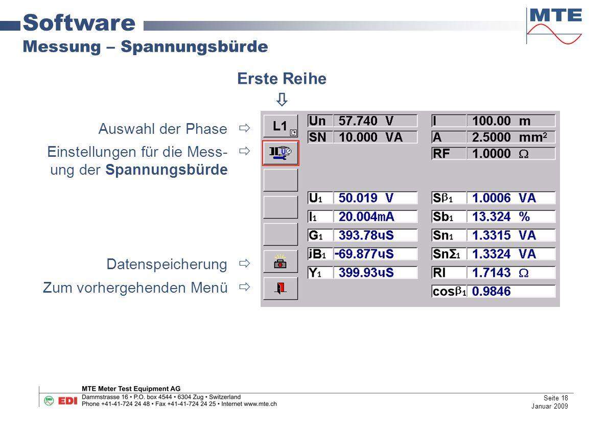 Software Messung – Spannungsbürde Auswahl der Phase  Einstellungen für die Mess-  ung der Spannungsbürde Datenspeicherung  Zum vorhergehenden Menü  Erste Reihe  Seite 18 Januar 2009
