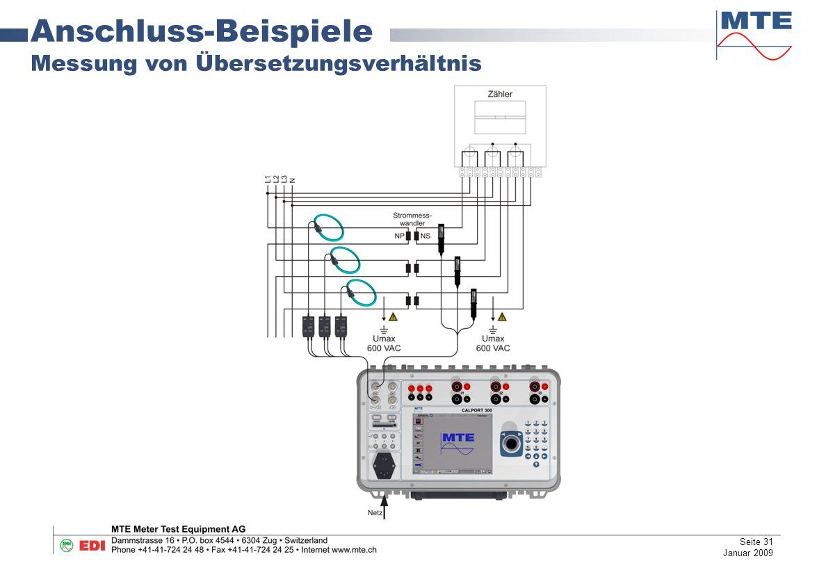 Anschluss-Beispiele Messung von Übersetzungsverhältnis Seite 31 Januar 2009