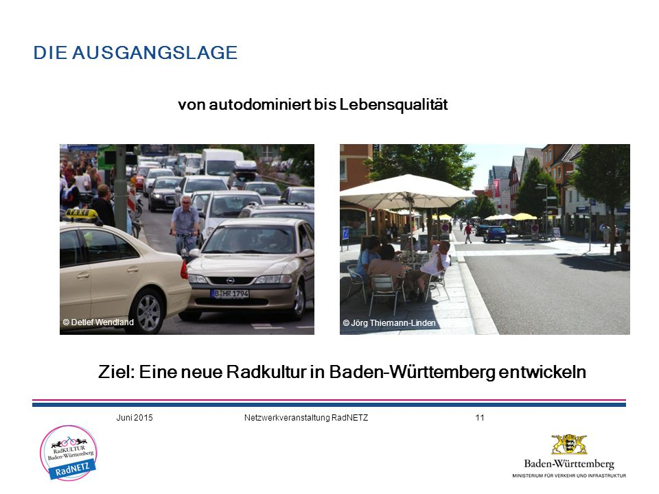 von autodominiert bis Lebensqualität Ziel: Eine neue Radkultur in Baden-Württemberg entwickeln DIE AUSGANGSLAGE © Jörg Thiemann-Linden © Detlef Wendla