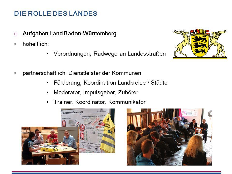DIE ROLLE DES LANDES o Aufgaben Land Baden-Württemberg hoheitlich: Verordnungen, Radwege an Landesstraßen partnerschaftlich: Dienstleister der Kommune