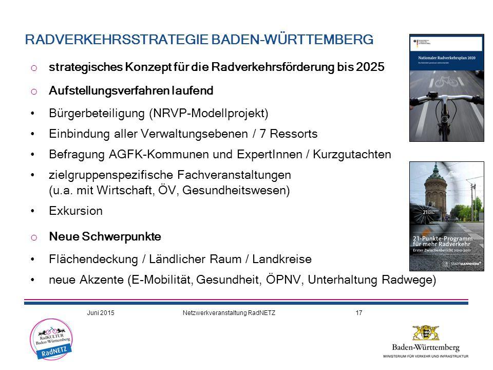 o strategisches Konzept für die Radverkehrsförderung bis 2025 o Aufstellungsverfahren laufend Bürgerbeteiligung (NRVP-Modellprojekt) Einbindung aller Verwaltungsebenen / 7 Ressorts Befragung AGFK-Kommunen und ExpertInnen / Kurzgutachten zielgruppenspezifische Fachveranstaltungen (u.a.