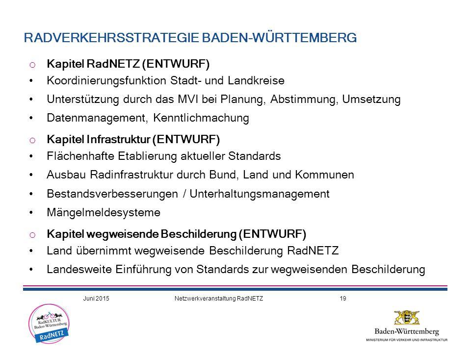 o Kapitel RadNETZ (ENTWURF) Koordinierungsfunktion Stadt- und Landkreise Unterstützung durch das MVI bei Planung, Abstimmung, Umsetzung Datenmanagemen