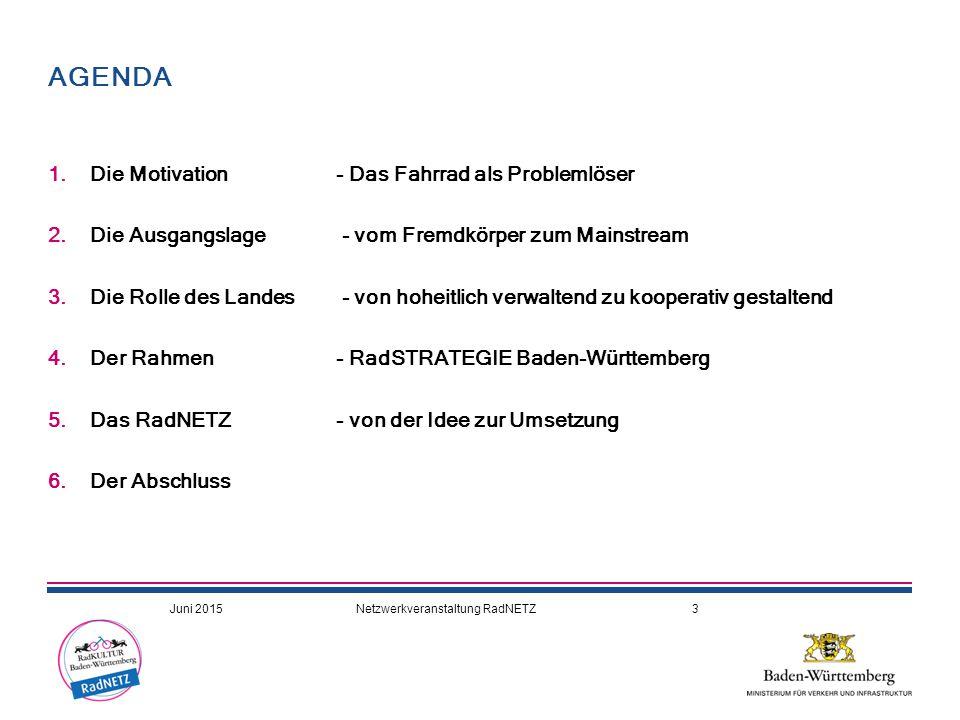 DEN RADVERKEHR IN DER FLÄCHE VERANKERN o Land Baden-Württemberg Verordnungen, Radwege an Landesstraßen Förderung, Koordination Landkreise / Städte Moderator, Impulsgeber, Zuhörer, Trainer, Koordinator, Kommunikator o 4 Regierungspräsidien Abwicklung der Förderprogramme Brücke zu den Landkreisen o 35 Landkreise, 9 Stadtkreise Straßenverkehrsbehörden, Radwege an Kreisstraßen Koordination Gemeinden o 1.101 Städte und Gemeinden zuständig für 80% aller Straßen und Radwege  UMSETZUNG