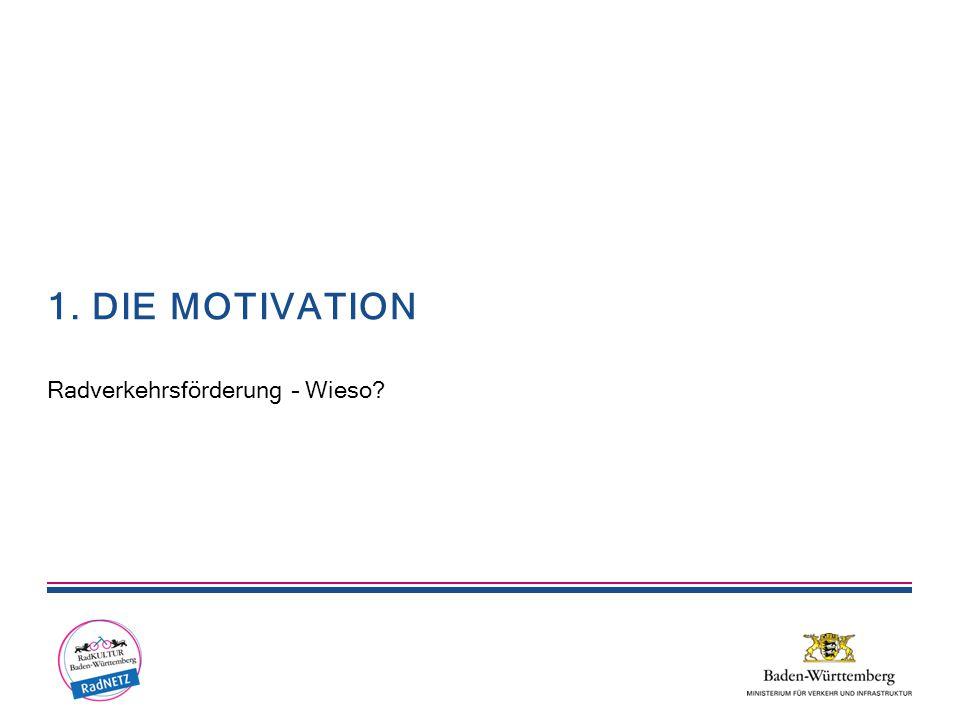 1. DIE MOTIVATION Radverkehrsförderung – Wieso?