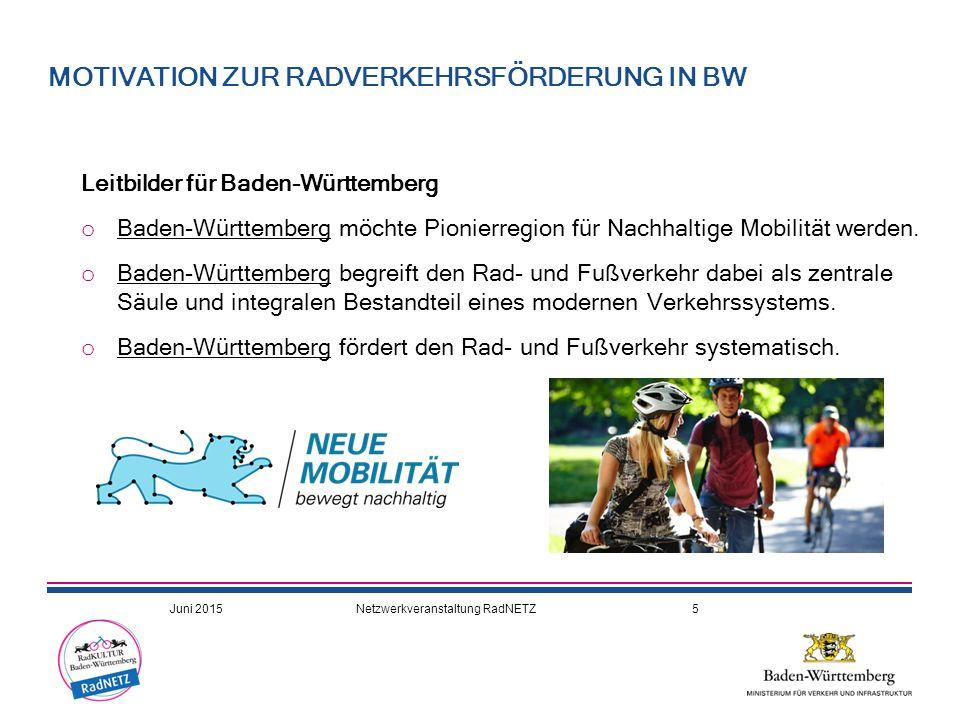 Leitbilder für Baden-Württemberg o Baden-Württemberg möchte Pionierregion für Nachhaltige Mobilität werden. o Baden-Württemberg begreift den Rad- und