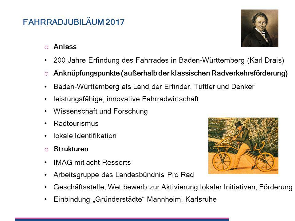 8 o Anlass 200 Jahre Erfindung des Fahrrades in Baden-Württemberg (Karl Drais) o Anknüpfungspunkte (außerhalb der klassischen Radverkehrsförderung) Ba