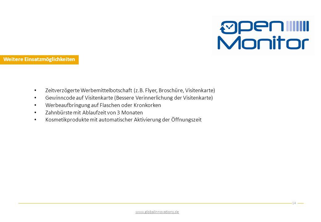 Weitere Einsatzmöglichkeiten 14 www.globalinnovations.de Zeitverzögerte Werbemittelbotschaft (z.B.