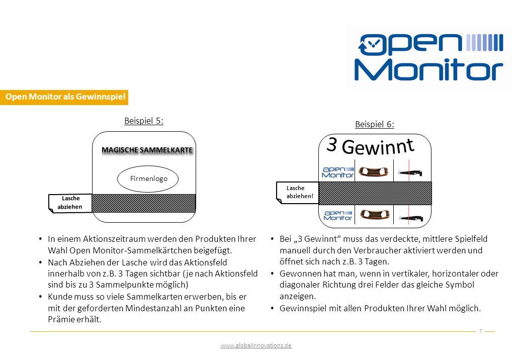 Open Monitor als Gewinnspiel In einem Aktionszeitraum werden den Produkten Ihrer Wahl Open Monitor-Sammelkärtchen beigefügt.