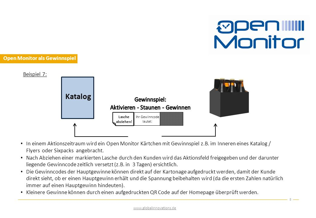 Open Monitor als Gewinnspiel 8 www.globalinnovations.de Beispiel 7: Lasche abziehen.