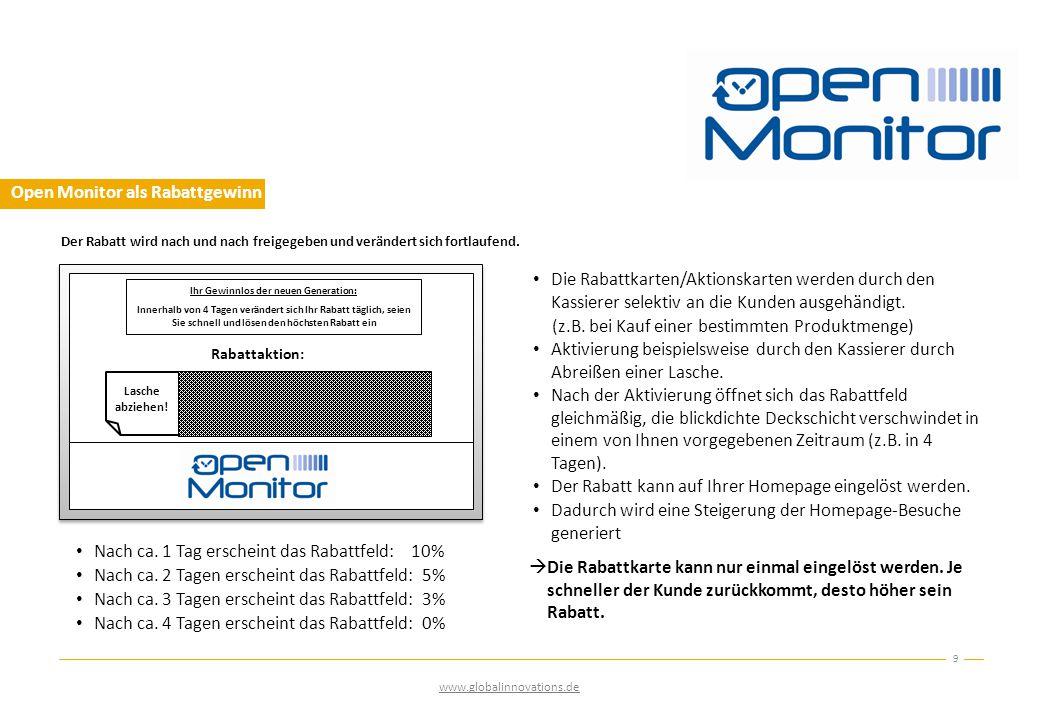 Open Monitor als Rabattgewinn 9 Der Rabatt wird nach und nach freigegeben und verändert sich fortlaufend.