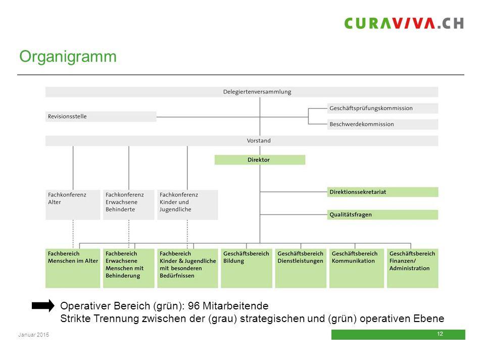 12 Januar 2015 Operativer Bereich (grün): 96 Mitarbeitende Strikte Trennung zwischen der (grau) strategischen und (grün) operativen Ebene Organigramm