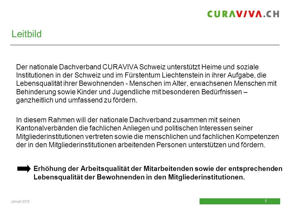 2 2 Januar 2015 Der nationale Dachverband CURAVIVA Schweiz unterstützt Heime und soziale Institutionen in der Schweiz und im Fürstentum Liechtenstein