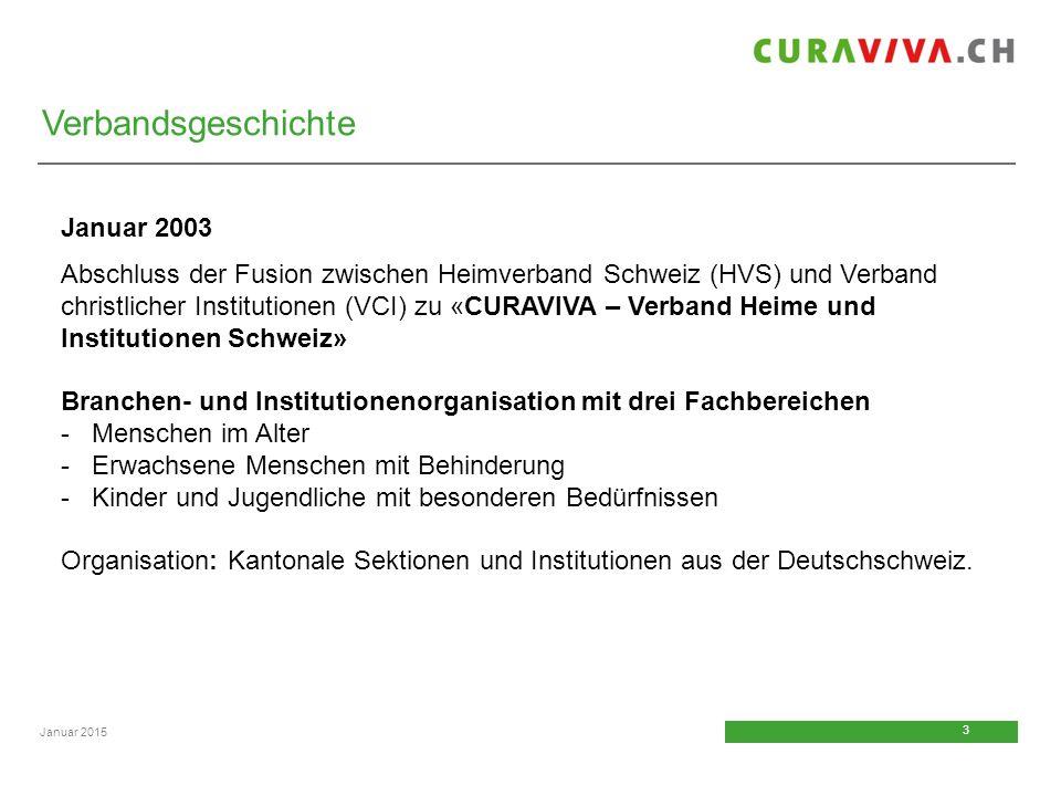 3 3 Januar 2015 Verbandsgeschichte Januar 2003 Abschluss der Fusion zwischen Heimverband Schweiz (HVS) und Verband christlicher Institutionen (VCI) zu
