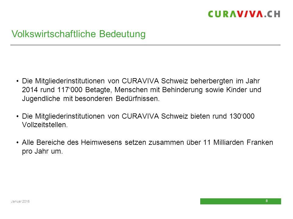 8 8 Januar 2015 Die Mitgliederinstitutionen von CURAVIVA Schweiz beherbergten im Jahr 2014 rund 117'000 Betagte, Menschen mit Behinderung sowie Kinder