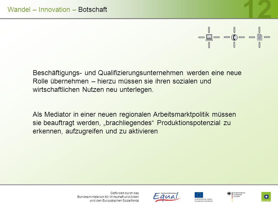 Gefördert durch das Bundesministerium für Wirtschaft und Arbeit und den Europäischen Sozialfonds 12 Beschäftigungs- und Qualifizierungsunternehmen wer