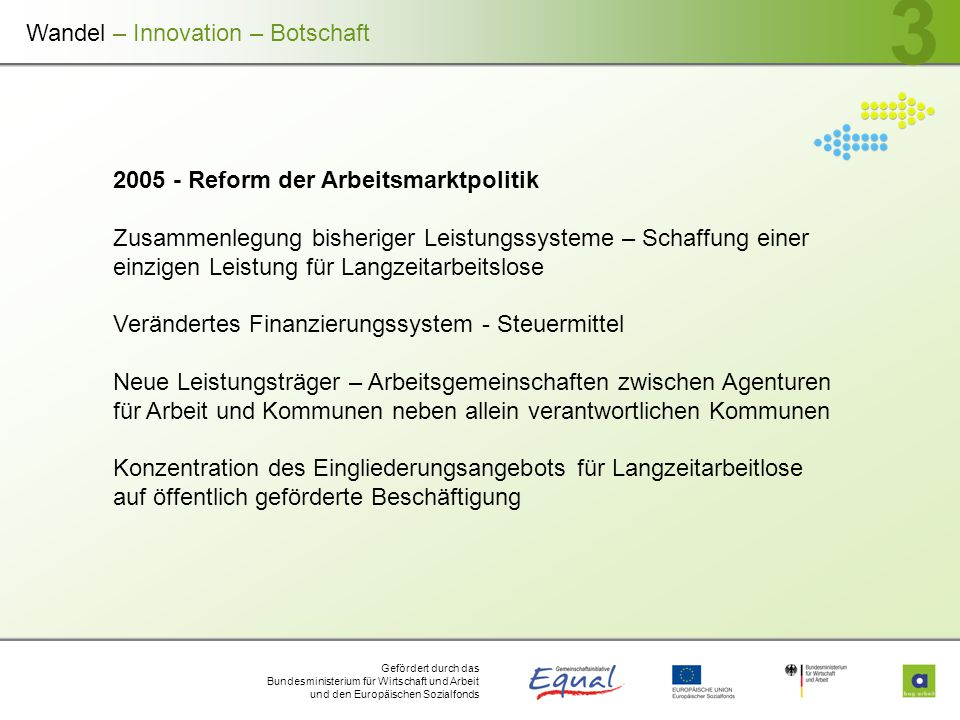 Gefördert durch das Bundesministerium für Wirtschaft und Arbeit und den Europäischen Sozialfonds 3 2005 - Reform der Arbeitsmarktpolitik Zusammenlegun