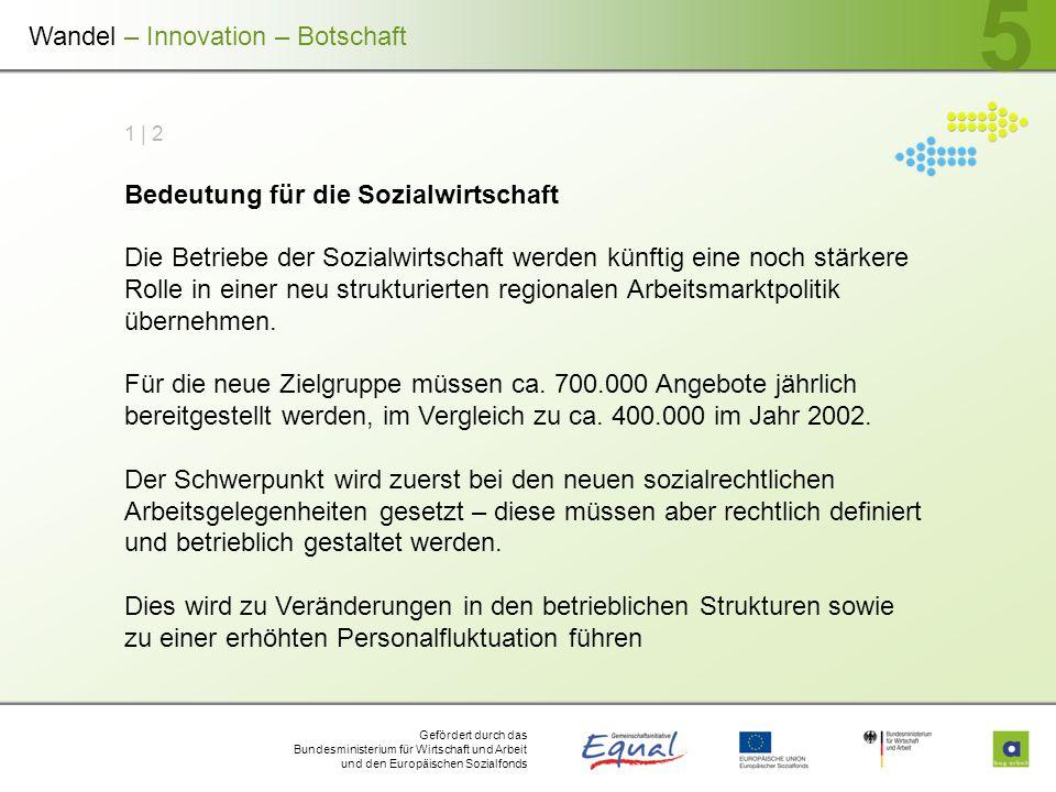 Gefördert durch das Bundesministerium für Wirtschaft und Arbeit und den Europäischen Sozialfonds 5 1 | 2 Bedeutung für die Sozialwirtschaft Die Betrie