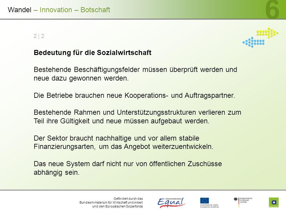 Gefördert durch das Bundesministerium für Wirtschaft und Arbeit und den Europäischen Sozialfonds 6 2 | 2 Bedeutung für die Sozialwirtschaft Bestehende