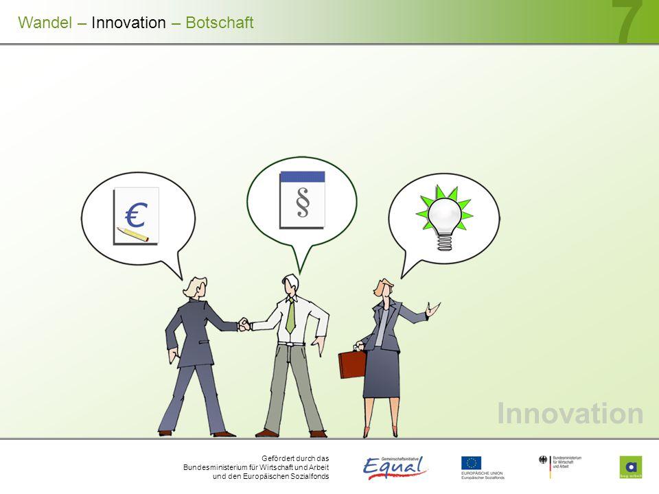 Gefördert durch das Bundesministerium für Wirtschaft und Arbeit und den Europäischen Sozialfonds 7 Innovation Wandel – Innovation – Botschaft