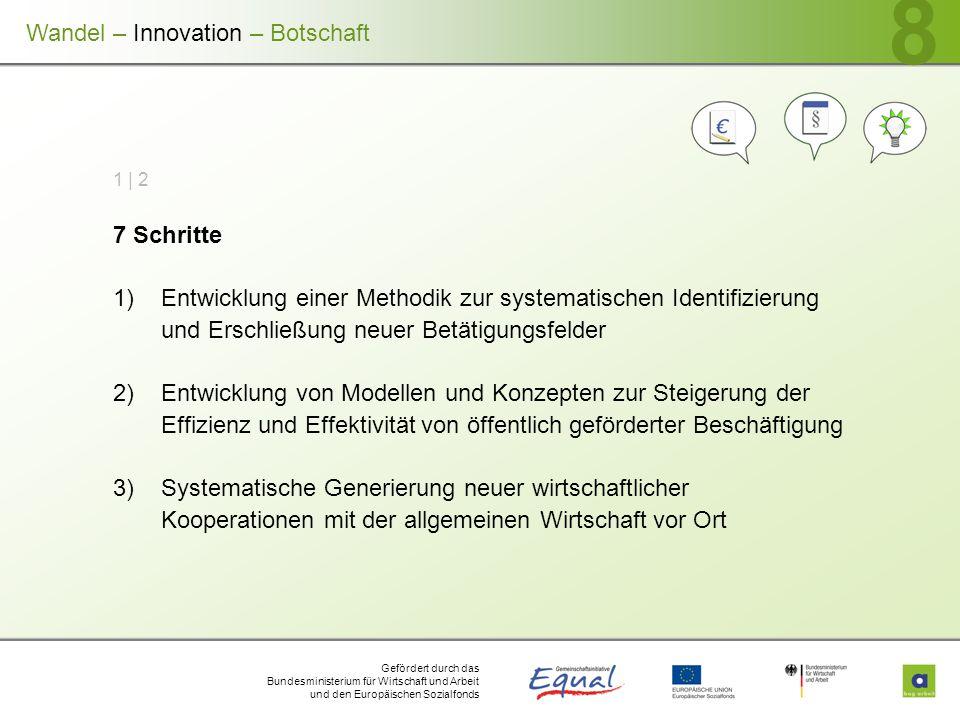 Gefördert durch das Bundesministerium für Wirtschaft und Arbeit und den Europäischen Sozialfonds 8 1 | 2 7 Schritte 1)Entwicklung einer Methodik zur s