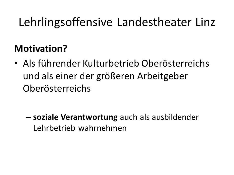Lehrlingsoffensive Landestheater Linz Ausbildung von Nachwuchs-Arbeitskräften - ausgebildete Lehrlinge bleiben erfahrungsgemäß zu 50% im Haus Abdeckung von hoch spezialisiertem Qualifikations-Bedarf z.B.