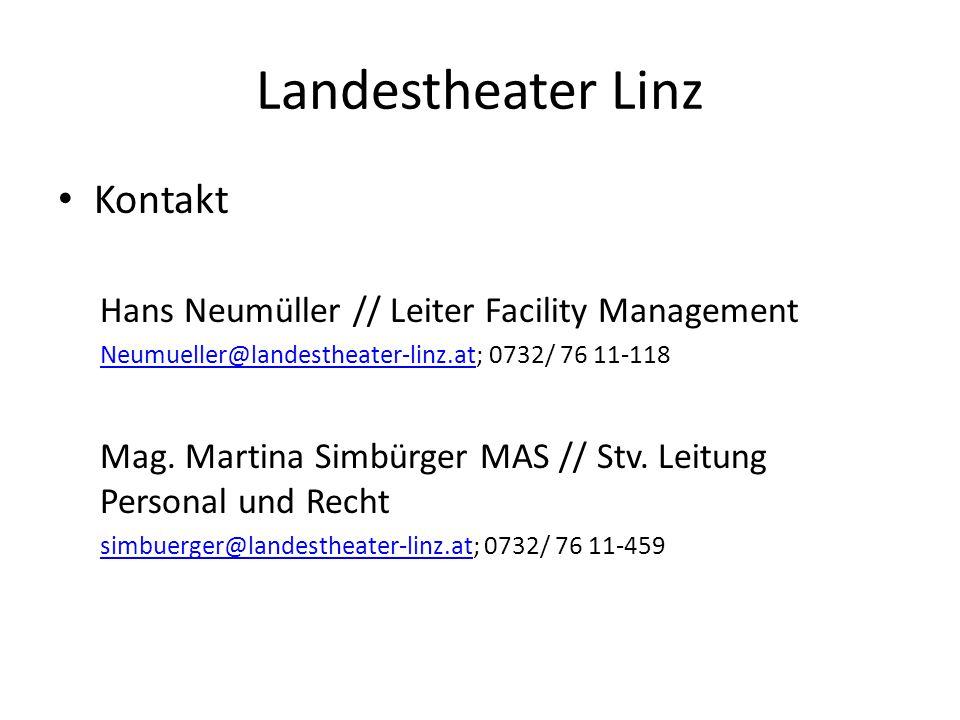 Landestheater Linz Kontakt Hans Neumüller // Leiter Facility Management Neumueller@landestheater-linz.atNeumueller@landestheater-linz.at; 0732/ 76 11-118 Mag.