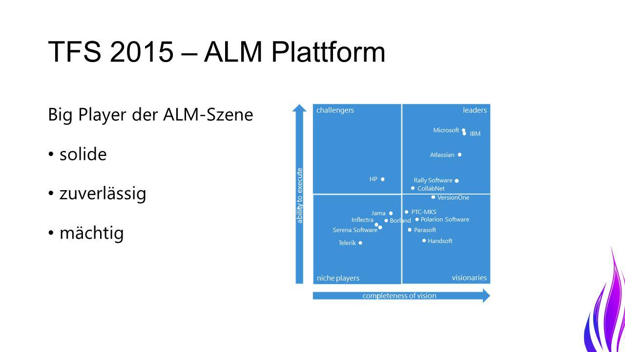 TFS 2015 – ALM Plattform Big Player der ALM-Szene solide zuverlässig mächtig