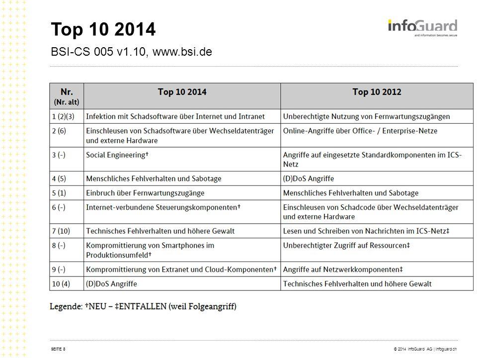 Top 10 2014 BSI-CS 005 v1.10, www.bsi.de © 2014 InfoGuard AG | infoguard.chSEITE 8