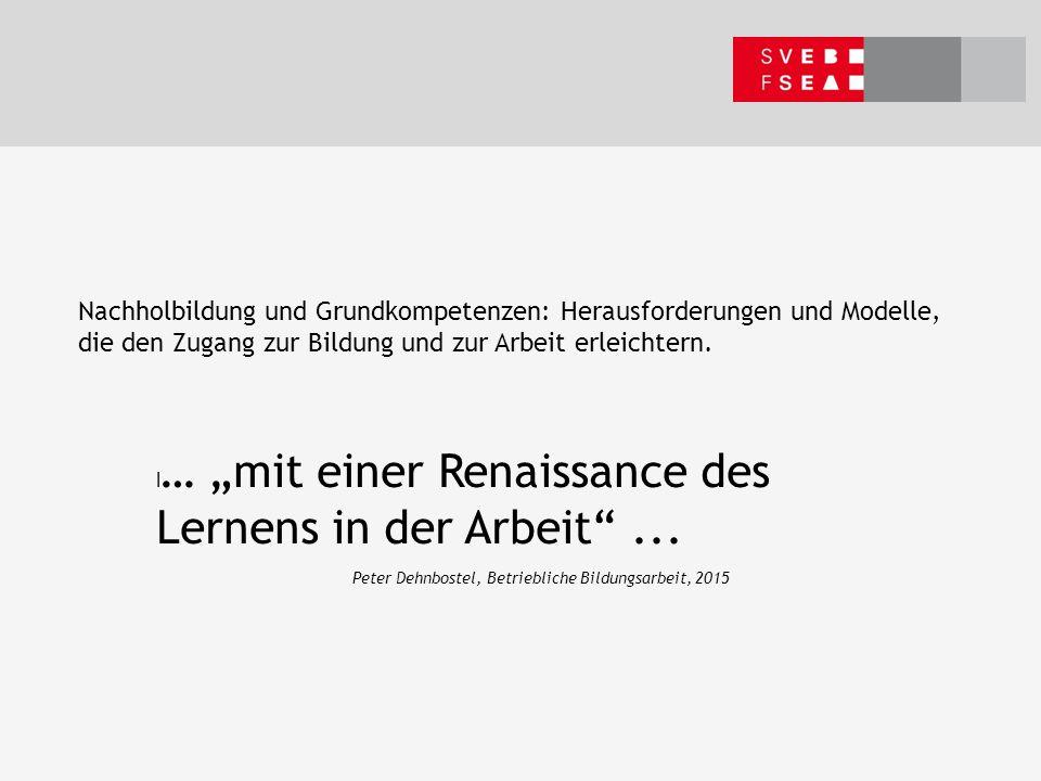 Nachholbildung und Grundkompetenzen: Herausforderungen und Modelle, die den Zugang zur Bildung und zur Arbeit erleichtern.
