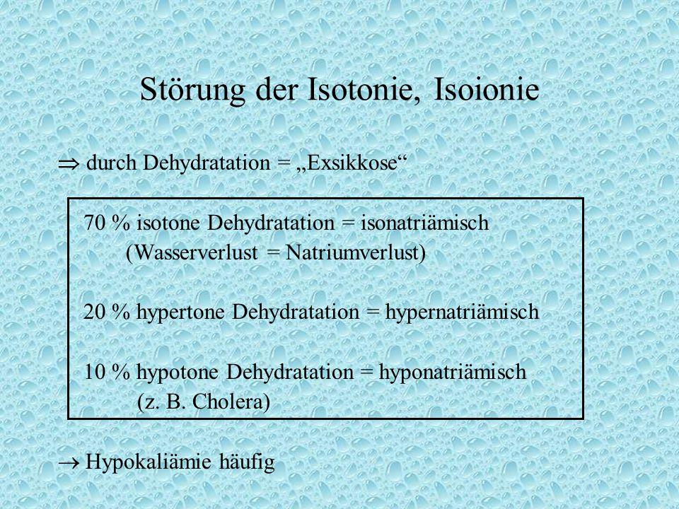"""Störung der Isotonie, Isoionie  durch Dehydratation = """"Exsikkose 70 % isotone Dehydratation = isonatriämisch (Wasserverlust = Natriumverlust) 20 % hypertone Dehydratation = hypernatriämisch 10 % hypotone Dehydratation = hyponatriämisch (z."""