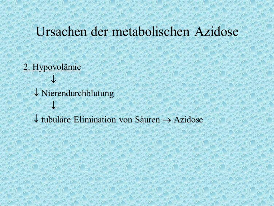 Ursachen der metabolischen Azidose 2. Hypovolämie   Nierendurchblutung   tubuläre Elimination von Säuren  Azidose