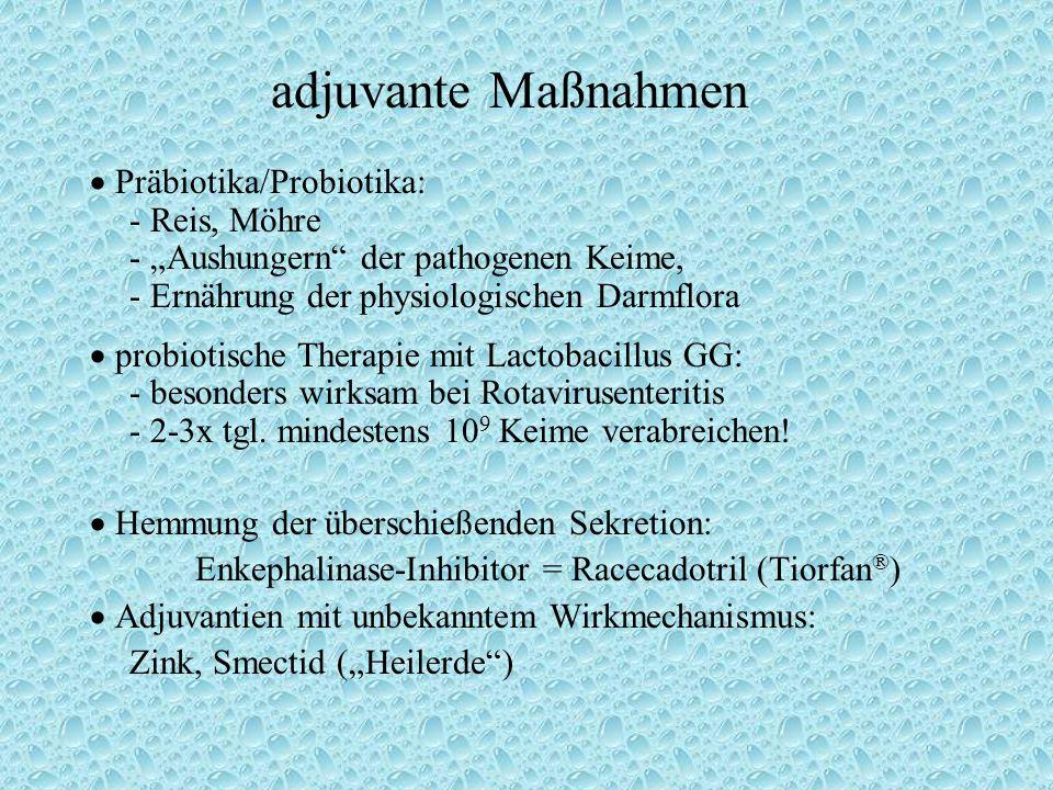 """adjuvante Maßnahmen  Präbiotika/Probiotika: - Reis, Möhre - """"Aushungern der pathogenen Keime, - Ernährung der physiologischen Darmflora  probiotische Therapie mit Lactobacillus GG: - besonders wirksam bei Rotavirusenteritis - 2-3x tgl."""