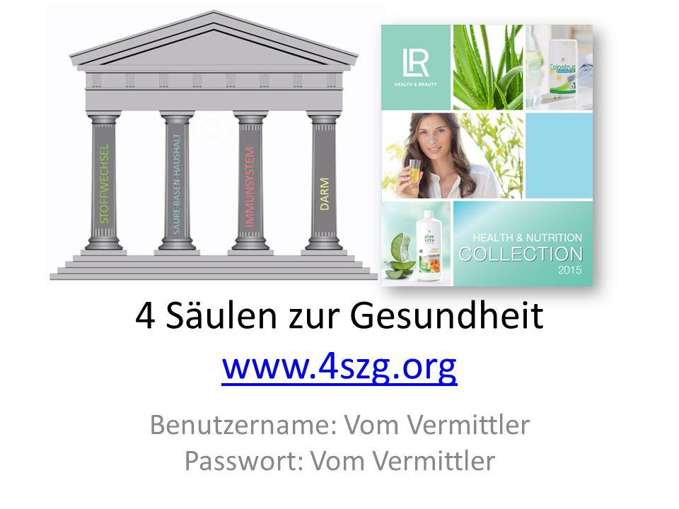 4 Säulen zur Gesundheit www.4szg.org www.4szg.org Benutzername: Vom Vermittler Passwort: Vom Vermittler