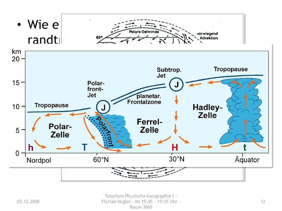 03.12.2008 Tutorium Physische Geographie 1 - Florian Vogler - Mi 15:45 - 17:15 Uhr - Raum 3065 12 Wie entsteht der subtropisch- randtropische Hochdruc