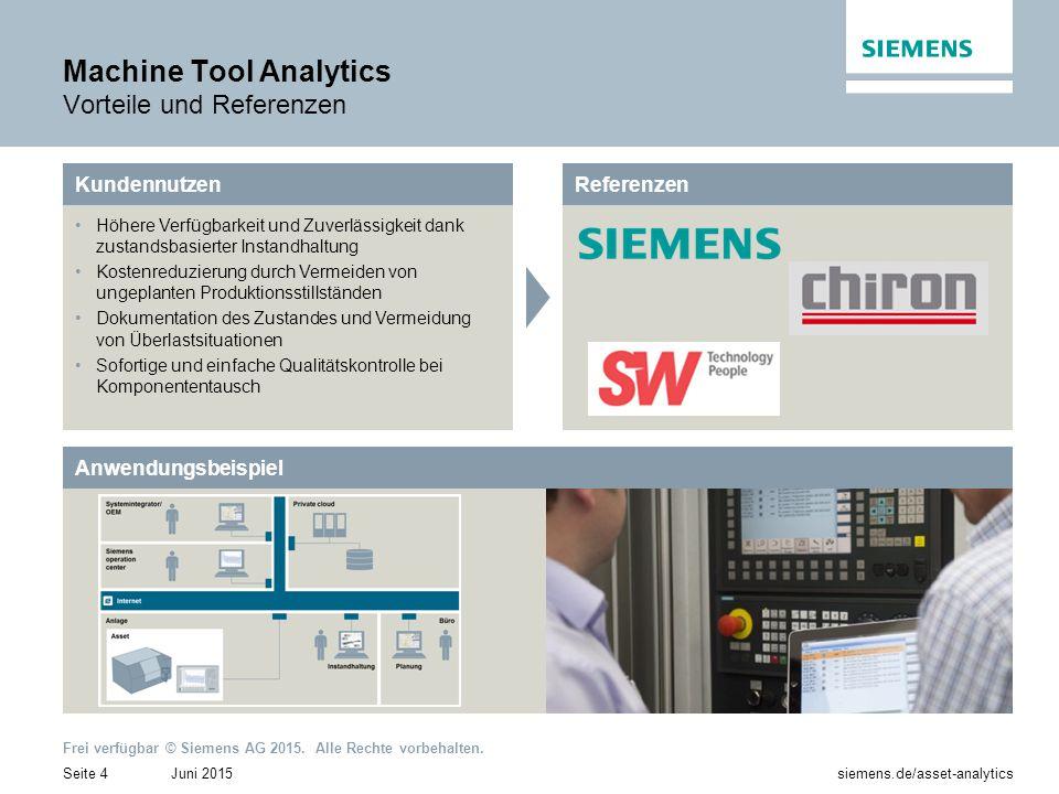 Juni 2015Seite 4 siemens.de/asset-analytics Frei verfügbar © Siemens AG 2015. Alle Rechte vorbehalten. Machine Tool Analytics Vorteile und Referenzen