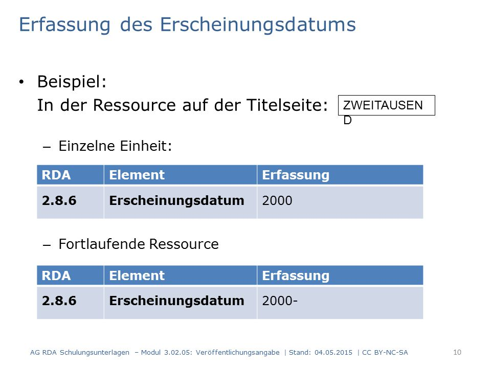 Erfassung des Erscheinungsdatums Beispiel: In der Ressource auf der Titelseite: – Einzelne Einheit: – Fortlaufende Ressource AG RDA Schulungsunterlagen – Modul 3.02.05: Veröffentlichungsangabe | Stand: 04.05.2015 | CC BY-NC-SA 10 RDAElementErfassung 2.8.6Erscheinungsdatum2000 RDAElementErfassung 2.8.6Erscheinungsdatum2000- ZWEITAUSEN D